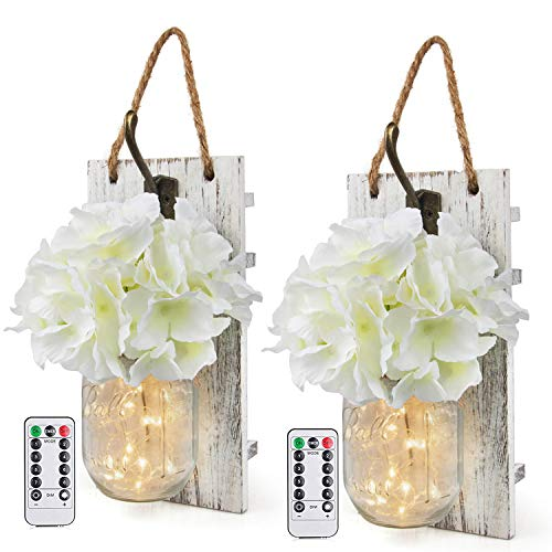 Rustic Wall Sconces Mason Jars Sconces with Remote Control LED Fairy Lights, Farmhouse Decor for Living Room Wall Decor of Bronze Retro Hooks, Silk Hydrangea Design for Home Decoration Set of Two