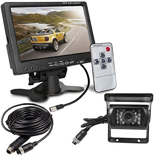 Rückfahrkamera, 4-polig, 12–24V, 18 LEDs, IR-Nachtsicht, wasserdichte Kftz-Rpckfahrkamera mit 15m Kabel + 7 Zoll HD-, TFT-, LCD-Monitor für RV, Truck, Wohnwagen, Bus