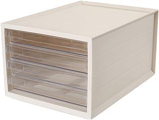 Classeurs tiroir Type boîte de Rangement de Bureau étagère A4 Bureau Transparent (Couleur : Beige)