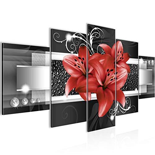 Bilder Blumen Lilien 5 Teilig Bild auf Vlies Leinwand Deko Wohnzimmer Abstrakt Rot 008652c