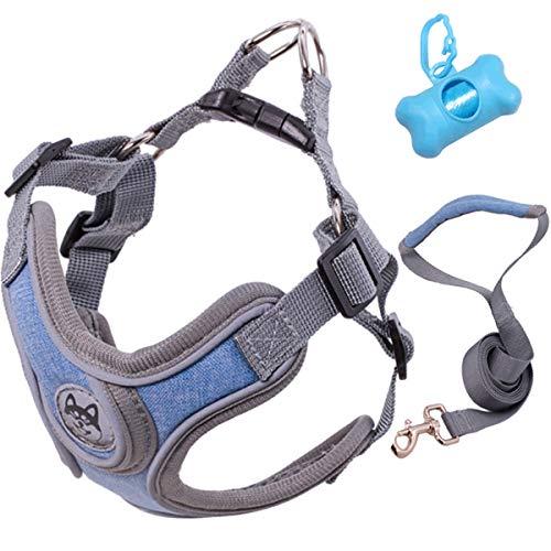 HEBANG Hundegeschirr, Hundegeschirr Set mit Leine für kleine Hunde, Weich Mesh Brustgeschirr für Mittlere und Kleine Hunde/Katzen, mit Reflektorstreifen Weich und Atmungsaktiv