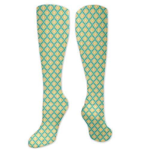Calcetines de sandalia, patrón de azulejos florales repetidos, motivos inspirados en la naturaleza, calcetines para mujeres y hombres, lo mejor para correr, atletismo, senderismo, viajes, vuelo