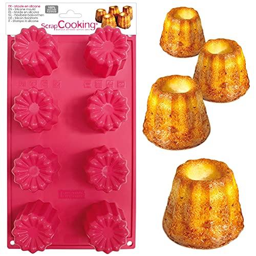 ScrapCooking - Moule à Cannelés en Silicone - 8 Formes de Cannelés Bordelais - Ustensile Souple Pâtisserie Gâteau - Apte Four & Congélateur - 3131