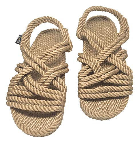 Nomadic State of Mind Lounger Sandals- Handmade Adjustable Rope Shoes – Machine Washable – Comfortable & Lightweight – Vegan Friendly – for Women & Men (Numericc_11) Camel