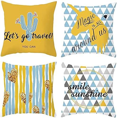Direct stock discount half Throw Pillow Covers 4-Piece Cotton Decorative Pillowcase Linen