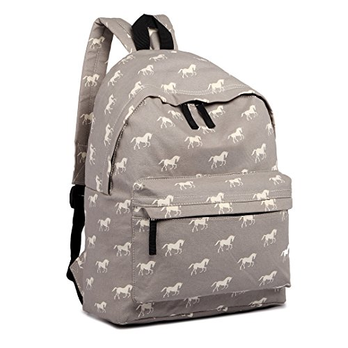 Kono School Bags for Boys and Girls Rucksack Canvas Horse Printing Backpack Students Teenagers Bookbag Casual Daypack (Grey)