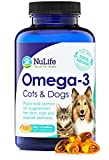 Pure Omega 3 Fish Oil for Dogs & Cats, Wild Caught Alaskan Salmon Oil Supplement for Pets, for Healthy Skin & Shiny Coat, Improves Shedding & Relieves Dry, Itchy Skin, 500mg, 120 Capsules