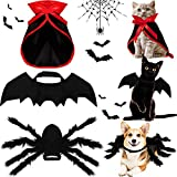 3 Piece Halloween Cat Dog Costume Set, Pet Bat Wings Witch Vampire Cloak Giant Imitation Pet Spider Wings Pets Costume Cosplay Accessories Halloween Pets Wing Decoration for Dogs Puppy Cats