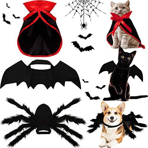 Juego de 3 Piezas Disfraces de Perro Gato de Halloween, Capa de Vampiro Bruja Alas Murcilago Mascota Accesorios de Disfraz de Mascotas Alas de Araa de Mascota de Imitacin Gigante de Halloween