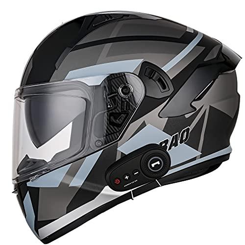 Bluetooth Integrado Casco Moto Integral con Antivaho Doble Visera Casco de Moto Integral Transpirable y cálido Casco Integral de Cara para Mujer Hombre Adultos,ECE Homologado B,XXL