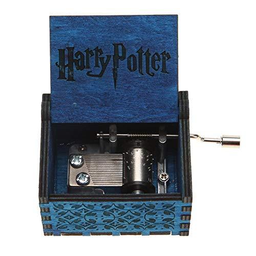 Silverbirdly Carillon a manovella in Legno, meccanismo a 18 Note, Carillon Antico, Ideale Come Regalo per Bambini e Amici, Harry Potter,Blue, Harry Potter,Blue