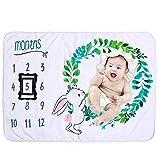 Manta de Bebé Manta Mensual de Hito para Bebé + 2 Marcos Negros de Tela no...