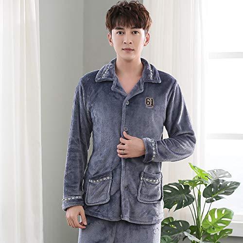 Handaxian Herren Flanell Pyjama einfache offene Herbst- und Wintermodelle Coral Fleece Home Service