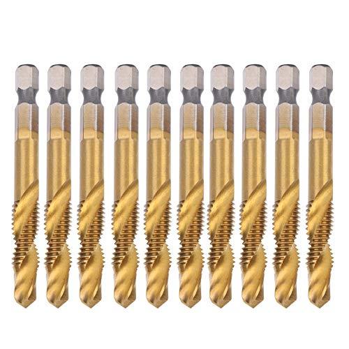 Macho giratorio de 10 piezas M8, combinación de broca y broca, kit de machos de roscar HSS, acero de alta velocidad, brocas de 6,8 mm, herramientas de roscado de vástago hexagonal para taladrar madera