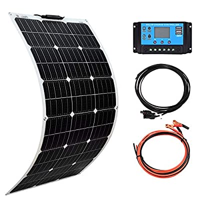 XINPUGUANG Solar Panel 100W 12V Monocrystalline Flexible 200W System Kit Hightweight Solar Battery Charger pv Connector for RV Boat Cabin Tent Car (100W-1)