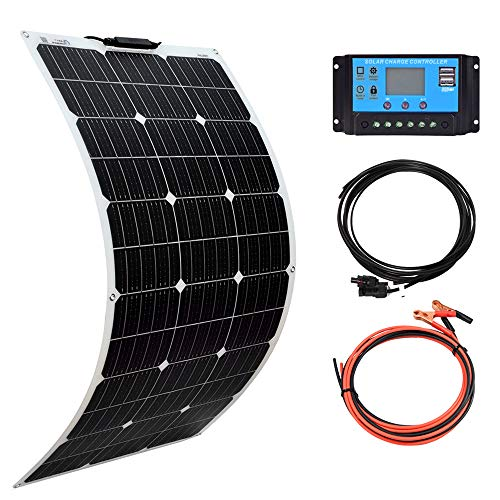 XINPUGUANG Solar Panel 100W 12V Monocrystalline Flexible 100W System Kit Hightweight Solar Battery Charger pv Connector for RV Boat Cabin Tent Car (100W-1)