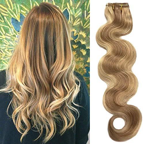 Koobetti Clip in Haarverlängerungen, Body Wave Haarverlängerung, Remy Echthaar, 70g, 7 Stück, No.12/613 Braun Gemischt Mit Blondine, 45cm