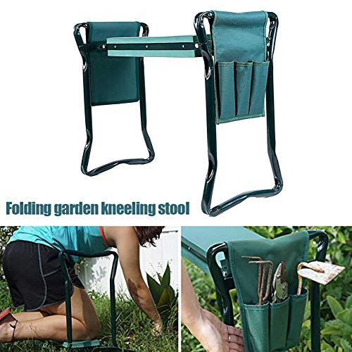 MDWK Garden Kneeler and Seat,Heavy Duty Garden Kneeler Stool,Folding Bench with Pouch Tool Pocket Soft EVA Kneeling Pad for Gardening,Protect Your Knees