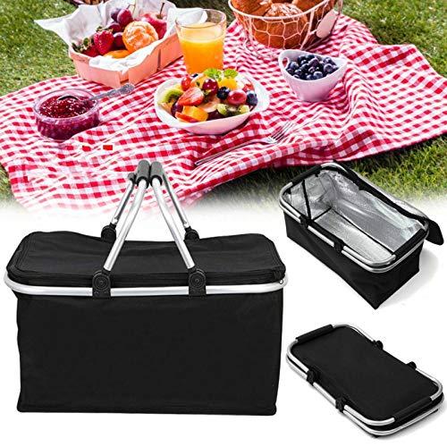 Cesta de picnic plegable grande de 30 l para picnic, camping, bolsa térmica