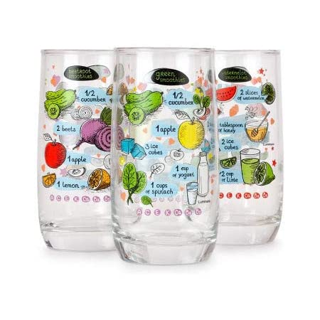 Luminarc Decorative Drinking Glass Water Glass 11 84 Fl Oz Luminarc Smoothie Glasses Set Of 3 Glasses For Drinks Mixed Drinkware Sets