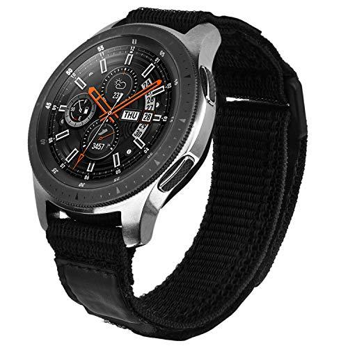 V-MORO Galaxy Watch 46mm Armband/Galaxy Watch 3 45mm/Gear S3 Frontier Armband Herren 22mm Weiche Atmungsaktive Gewebeschlaufe Ersatz Kompatibel mit Samsung Galaxy Watch 46 Black