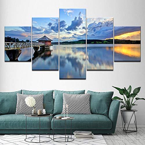N / A 5 Aufeinanderfolgende Bilder Haus Am See 5 Panels Wohnzimmer Hd Gedruckt Moderne Malerei Auf Leinwand Poster.30X60Cm*2/30X70Cm*2/30X80Cm*1(No Rahmen)