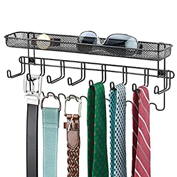 mDesign Closet Wall Mount Men s Accessory Storage Organizer Rack - Holds Belts Neck Ties Watches Change Sunglasses Wallets - 19 Hooks and Basket - Black