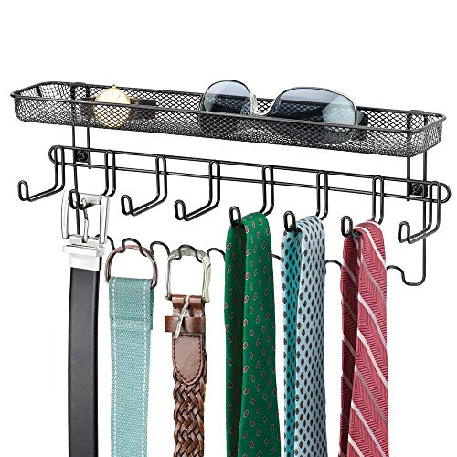 mDesign Closet Wall Mount Mens Accessory Storage Organizer Rack - Holds Belts Neck Ties Watches Change Sunglasses Wallets - 19 Hooks and Basket - Black