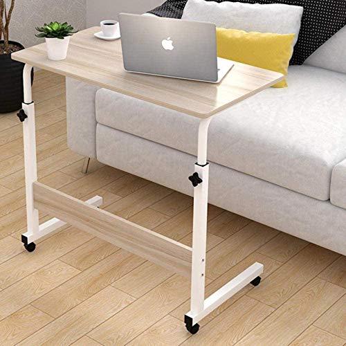 N/Z Equipo para el hogar Escritorio Plegable de Acero con Panel de Roble Claro Ruedas con Cerradura de Altura Ajustable Mesa pequeña/Escritorio para baño, Dormitorio