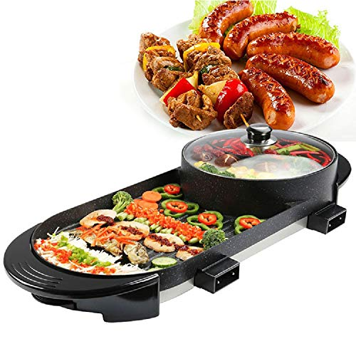 5 Speed Fire Adjustment Electric Barbecue Stove Indoor Hot Pot, Electric 2 in 1 Hot Pot and Grill, Smokeless Korean Barbecue Hotpot with Grill Combo Pan Non-Stick Shabu Shabu, 28in For Food Party