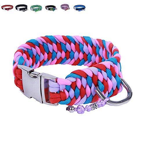 BelloBand Hundeleine Set aus Paracord / Führ-Leine mit Hundehalsband für große Hunde / Farbe: Pink / 45cm ø