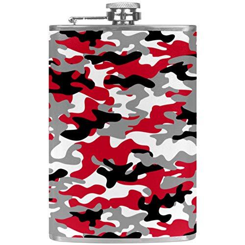 Petacas de Alcohol Camuflaje Rojo Negro Petaca 227ml Acero Inoxidable para Whisky Vodka Alcohol líquido con embudos para Hombres y Mujeres 9.2x15cm