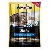 GimCat Sticks - Salmón y trucha, salmón suave con alto porcentaje de carne, recompensa sin cereales con vitaminas y taurina, 24 paquetes (24 x 4 palos)