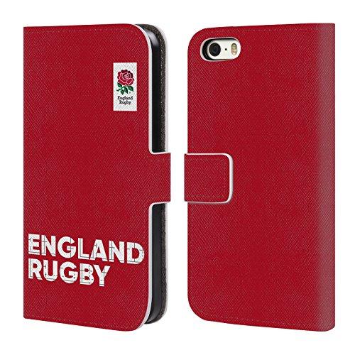 Head Case Designs Official England Rugby Union Logotipo Primera XV Carcasa de Cuero Tipo Libro Compatible con Apple iPhone 5 / iPhone 5s / iPhone SE 2016