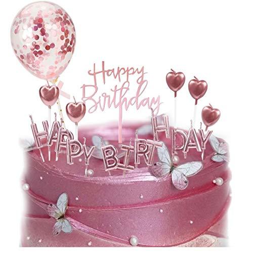 XinYang Tortendeko Rosegold Happy Birthday Kerzen Geburtstag Dekoration Konfetti Luftballon Herz Cake Kerze Kuchendeko Geburstagstorte Deko für Mädchen Frauen
