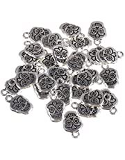 ULTNICE 30pcs Antique Silver Skull Head Charms Jewelry Making Charms Pendants for DIY Jewelry Making