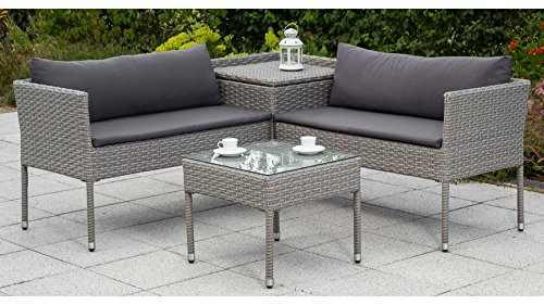 MERXX Loungeset Brescia, 7-tlg, Eckbank, Tisch, Polyrattan, grau, inkl. Auflage grau