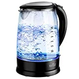 Willz Electric Glass Kettle with Heat Resistant Handle and Cordless Pour, Quick Boil & Auto Shut-Off Technology, Blue Boil Light, 1.7L, 1500 W, Black, WLKE17G1M15