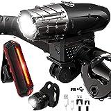 MANLI Luces De Bicicleta, Luz Bicicleta Recargable USB, Linterna Bicicleta Impermeable con 4 Modos, 3 Luz LED Bicicleta para Carretera y Montaña
