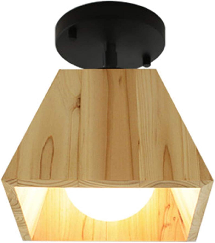 ZY Hlzerne LED-Deckenleuchte Moderne Geometrische Form Hlzerne Deckenleuchte Kreative Quadratische Schwarze Schmiedeeisensaugbehlter Restaurant Wohnzimmer Kinderzimmer Schlafzimmer Gang 360 & deg;