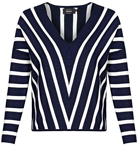 ONLY Damen Onlaya 7/8 V-neck Knt Noos Pullover, Mehrfarbig (Night Sky Stripes: W.cloud Dancer Stripes), S EU