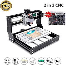 2-in-1 2500mW Upgrade Version CNC 3018 Pro with 20 Bits GRBL Control DIY Mini CNC Machine, 3 Axis Pcb Milling Machine, Wood Router Engraver with Offline Controller, with ER11 and 5mm Extension Rod