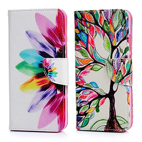 2x Fliphülle für Xiaomi Redmi Note 7 Hülle, Bookstyle Ständer Kunstlich Klappe Case Xiaomi Redmi Note 7 Pro Lederhülle Etui Buchform Schutzhülle Großer Baum + halbe Blume Brieftasche Halter Geldbörse