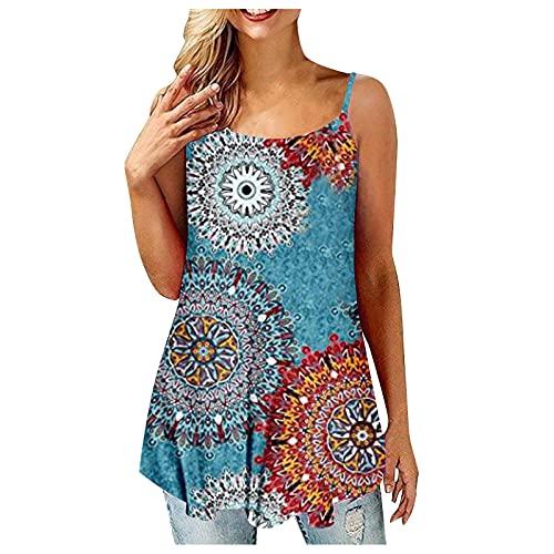 Camiseta de tirantes para mujer, moderna, elegante, lisa, sin mangas, corto, para chaleco, informal, básica, cómoda, para adolescentes, niñas y mujeres. azul XL