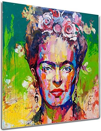 SALPIE - Quadro Moderno Astratto - Frida Kahlo - Stampa su Tela Canvas Arte Arredo Casa Ufficio Soggiorno Salotto Cucina Camera da Letto (30x30 cm)