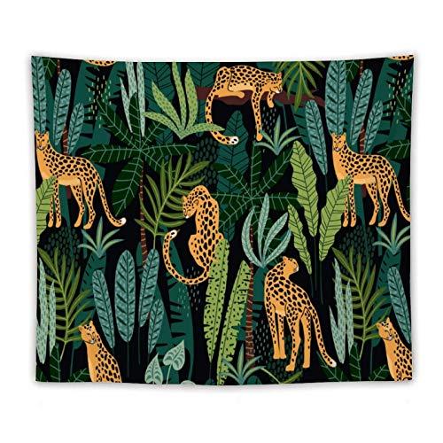 Tapiz de leopardo de la noche de la selva, tríptico hippie psicodélico para colgar en la pared, colorido abstracto decoración de pared para dormitorio, sala de estar