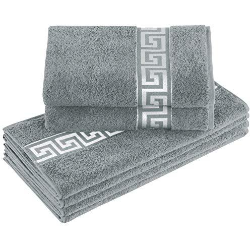 Delindo Lifestyle® Frottee Handtuch Serie Rhodos grau, 6-Teiliges Handtuch Set, Baumwolle