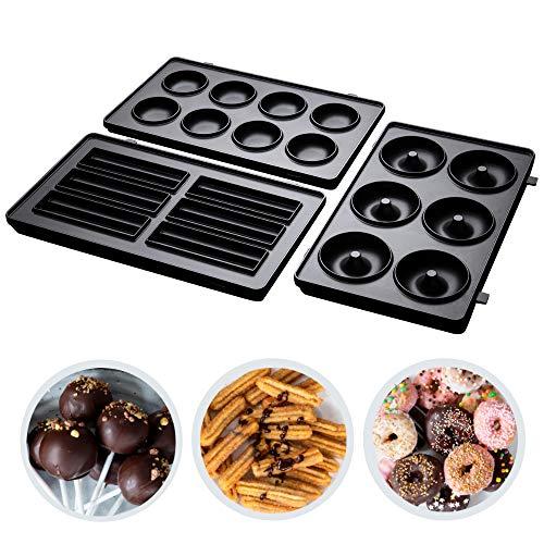 Russell Hobbs 25490-56 3er Platten-Sets Fiesta, spülmaschinengeeignete und hochwertige antihaftbeschichtete Cake-Pop-Platten, Mini-Donut-Platten und Churros Platten