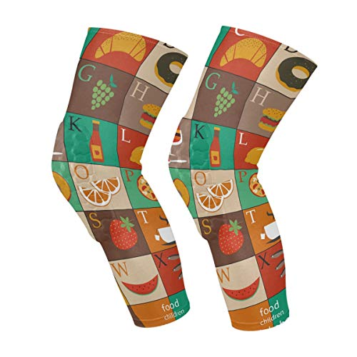 Fruit Food Alphabet Knee Sleeves Calf Leg Support Compression Socks Honeycomb Protector Gear