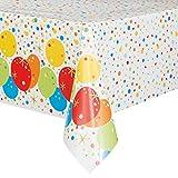 """Unique Party 58213 - Tovaglia in plastica laminata, motivo """"Happy Birthday"""", 2,1 m x 1,4 m"""